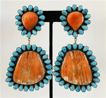 SPINY ORANGE SHELL EARRINGS